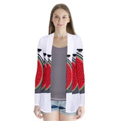 Watermelon Bicycle  Drape Collar Cardigan