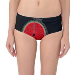 Watermelon Bicycle  Mid Waist Bikini Bottoms