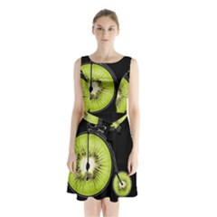 Kiwi Bicycle  Sleeveless Waist Tie Chiffon Dress