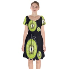 Kiwi Bicycle  Short Sleeve Bardot Dress