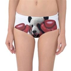 Boxing Panda  Mid Waist Bikini Bottoms