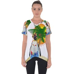 Tropical Penguin Cut Out Side Drop Tee