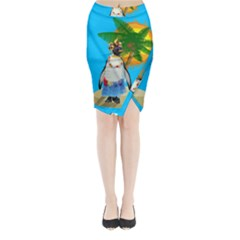 Tropical Penguin Midi Wrap Pencil Skirt