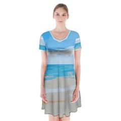 Landscape Short Sleeve V Neck Flare Dress