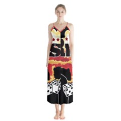 Nuclear Explosion Trump And Kim Jong Button Up Chiffon Maxi Dress