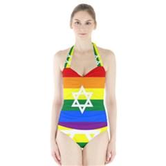 Gay Pride Israel Flag Halter Swimsuit
