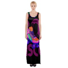 Roller Skater 80s Maxi Thigh Split Dress