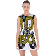 80s Disco Vinyl Records Lace Up Front Bodycon Dress