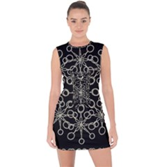 Ornate Chained Atrwork Lace Up Front Bodycon Dress
