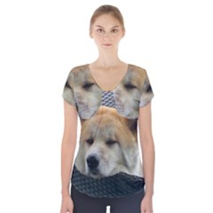 Akita Chilling Short Sleeve Front Detail Top