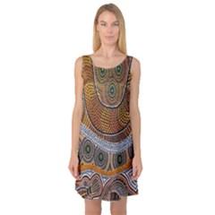 Aboriginal Traditional Pattern Sleeveless Satin Nightdress