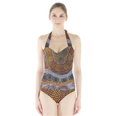 Aboriginal Traditional Pattern Halter Swimsuit