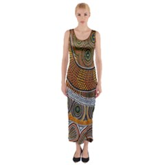 Aboriginal Traditional Pattern Fitted Maxi Dress