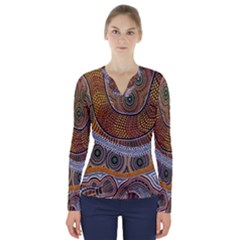 Aboriginal Traditional Pattern V Neck Long Sleeve Top