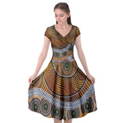 Aboriginal Traditional Pattern Cap Sleeve Wrap Front Dress