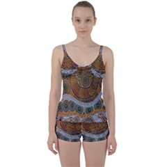 Aboriginal Traditional Pattern Tie Front Two Piece Tankini