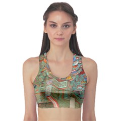 Traditional Korean Painted Paterns Sports Bra