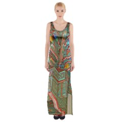 Traditional Korean Painted Paterns Maxi Thigh Split Dress