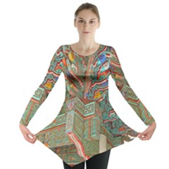 Traditional Korean Painted Paterns Long Sleeve Tunic