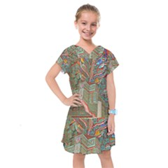 Traditional Korean Painted Paterns Kids  Drop Waist Dress
