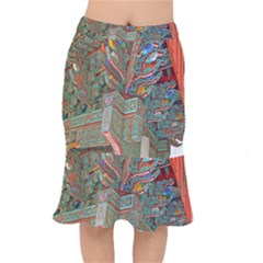 Traditional Korean Painted Paterns Mermaid Skirt