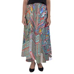 Traditional Korean Painted Paterns Flared Maxi Skirt
