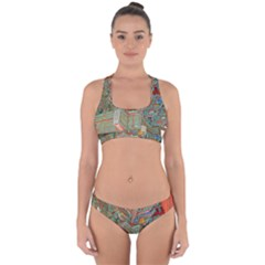 Traditional Korean Painted Paterns Cross Back Hipster Bikini Set