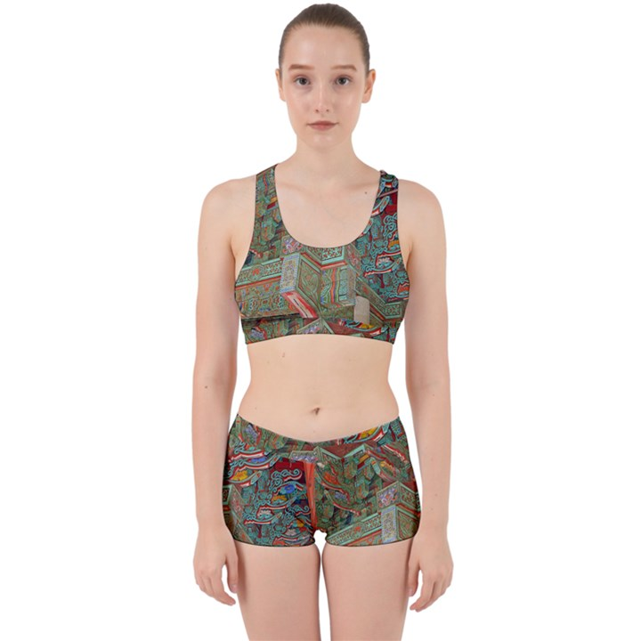 Traditional Korean Painted Paterns Work It Out Sports Bra Set