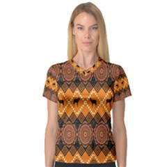 Traditiona  Patterns And African Patterns V Neck Sport Mesh Tee