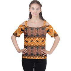 Traditiona  Patterns And African Patterns Cutout Shoulder Tee