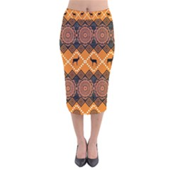 Traditiona  Patterns And African Patterns Velvet Midi Pencil Skirt