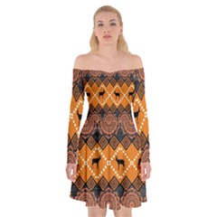 Traditiona  Patterns And African Patterns Off Shoulder Skater Dress