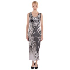 Chinese Dragon Tattoo Fitted Maxi Dress