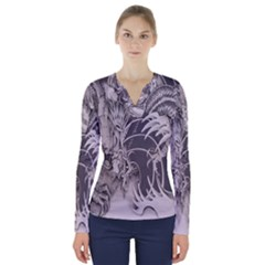 Chinese Dragon Tattoo V Neck Long Sleeve Top