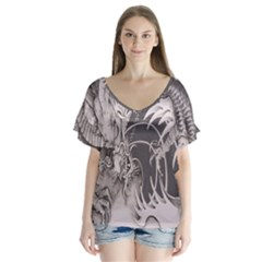 Chinese Dragon Tattoo Flutter Sleeve Top