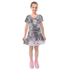 Chinese Dragon Tattoo Kids  Short Sleeve Velvet Dress