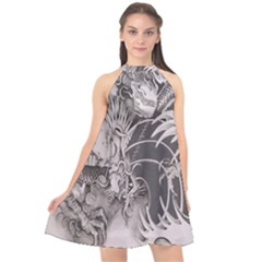 Chinese Dragon Tattoo Halter Neckline Chiffon Dress