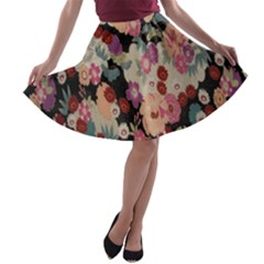 Japanese Ethnic Pattern A Line Skater Skirt