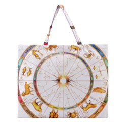 Zodiac  Institute Of Vedic Astrology Zipper Large Tote Bag