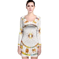 Zodiac  Institute Of Vedic Astrology Long Sleeve Velvet Bodycon Dress