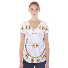 Zodiac  Institute Of Vedic Astrology Short Sleeve Front Detail Top