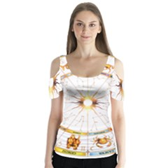 Zodiac  Institute Of Vedic Astrology Butterfly Sleeve Cutout Tee