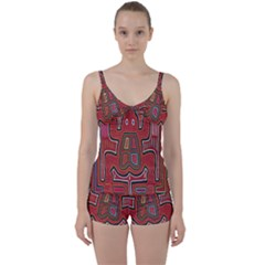 Frog Pattern Tie Front Two Piece Tankini