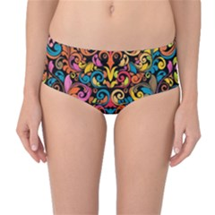 Art Traditional Pattern Mid Waist Bikini Bottoms