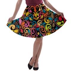 Art Traditional Pattern A Line Skater Skirt