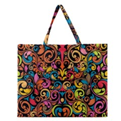 Art Traditional Pattern Zipper Large Tote Bag