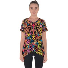 Art Traditional Pattern Cut Out Side Drop Tee