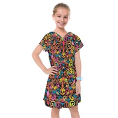 Art Traditional Pattern Kids  Drop Waist Dress