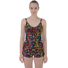 Art Traditional Pattern Tie Front Two Piece Tankini