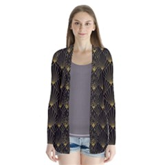 Abstract Stripes Pattern Drape Collar Cardigan